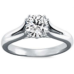 Diamond Solitaire Ring 1.10Ct Round Shape Solid White Gold Natural Certified