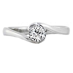 Solitaire Diamond Ring 0.90Ct Round Shape Solid White Gold Natural Certified