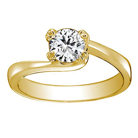 Solitaire Diamond Ring With Yellow Gold