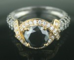 Black diamond Wedding Rings 3.31 Carat  Solitaire Diamond Solid Gold