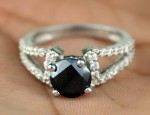 Black Diamond 2.46 Ct Black Solitaire Engagement Rings Solid Gold