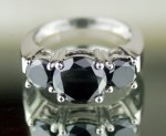 Enhanced Black Diamond 2.55 Carat Engagement Ring Solitaire Solid Gold