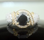 Artistry Black Diamond 2.59 Carat Solitaire Diamond With Accents Ring Solid Gold