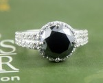 Artistry Black Diamond 5.03 Carat Solitaire Ring wz Accent Solid Gold