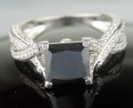 Enhanced Black Diamond 3.25 Carat Solitaire Diamond Ring Princess Cut Solid Gold