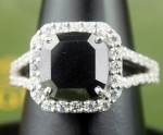 Black Diamond 5.21 Carat Solitaire Black Diamond Ring Solid Gold