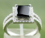 Black Diamond 3.86 Carat Solitaire Diamond Ring Princess Cut Solid Gold