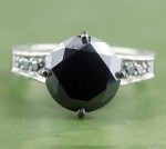 Black Diamond 3.49 Carat Solitaire Diamond Ring Solid Gold