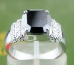 Black Stone 4.43 Carat Diamond Solitaire Ring Cushion Cut Solid Gold