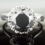 Black diamond Wedding Rings 4.03 Carat Solitaire With Accents  Solid Gold