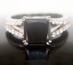 Black diamond Wedding Rings 2.78 Carat Princess Cut Solitaire wz Accent Solid Gold