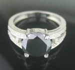 Black Diamond 4.93 Carat Solitaire Engagement Ring Solid Gold