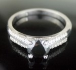 Black Stone 1.22 Carat Solitaire Black Diamond With Accents Ring Solid Gold