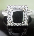 Black diamond Ring 3.38 Carat Solitaire wz Accent Princess Cut Solid Gold
