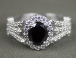 Black Stone 2.24 Carat Solitaire Diamond With Accents Ring Solid Gold