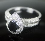 Black Diamond 2.30 Carat Solitaire Diamond Ring Pear cut Solid Gold