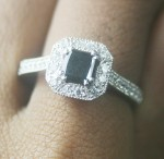 Artistry Black Diamond 1.34 Carat Diamond Solitaire Ring Princess Cut Solid Gold