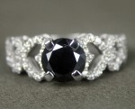 Enhanced Black Diamond 2.20 Carat Solitaire Engagement Ring  Solid Gold