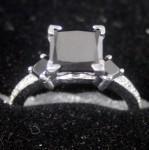 Enhanced Black Diamond 2.54 Carat Princess Cut Solitaire Black Diamond Ring Solid Gold