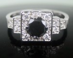 Cheap Black Diamond 1.63 Carat Engagement Rings Solitaire Solid Gold