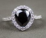Black diamond Wedding Rings 3.24 Carat Pear Cut Diamond Solitaire Solid Gold