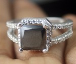 Cheap Black Diamond 3.61 Carat Solitaire Diamond Ring Princess Cut Solid Gold