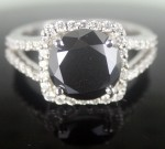 Artistry Black Diamond 4.08 Carat Diamond Solitaire Ring Solid Gold