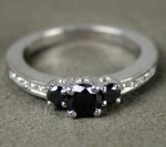 Black diamond Ring 0.94 Carat Solitaire Diamond wz Accent Solid Gold