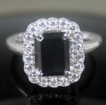 Enhanced Black Diamond 2.73 Carat Radiant Cut Solitaire Black Diamond Ring Solid Gold