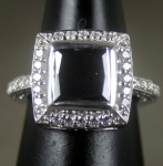 Black Stone 4.02 Carat Solitaire With Accents Ring  Princess Cut Solid Gold