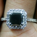 Cheap Black Diamond 2.31 Carat Solitaire Black Diamond Ring Princess Cut Solid Gold