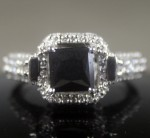Artistry Black Diamond 2.73 Carat Solitaire Ring wz Accent Radiant Cut Solid Gold