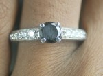 Enhanced Black Diamond 1.19 Carat Solitaire Engagement Rings  Solid Gold
