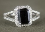 Black diamond Wedding Rings 3.06 Carat Radiant Cut Solitaire wz Accent Solid Gold