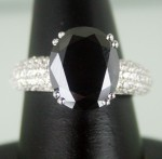 Enhanced Black Diamond 6.20 Carat Solitaire Black Diamond Ring Solid Gold