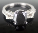 Black diamonds Ring 3.59 Carat Solitaire Diamond wz Accent Solid Gold