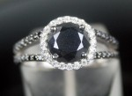 Black and White Diamond Engagement Rings 1.35 Ct Black Diamond Round Shape Sterling Silver Solitaire