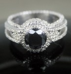 Artistry Black Diamond Ring 3.47 Ct Black & White Diamond Round Shape Sterling Silver Solitaire