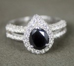 Black diamond Wedding Rings 2.30 Ct Black & White Diamond Pear Shape Sterling Silver Solitaire