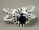 Artistry Black Diamond Ring 1.49 Ct Black Diamond Round Shape Sterling Silver Solitaire