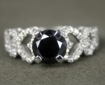 Black diamonds Ring 2.20 Ct Black & White Diamond Round Shape Sterling Silver Solitaire