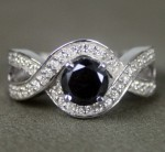 Black Diamond Engagement Rings 1.38 Ct Black & White Diamond Round Shape Sterling Silver Solitaire