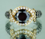 Black Stone Engagement Rings 3.31 Ct Black & White Diamond Round Shape Sterling Silver Solitaire