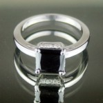 Black and White Diamond Engagement Rings 1.77 Ct Black & White Diamond Princess Shape Sterling Silver Solitaire