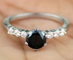 Black Diamond Rings 1.08 Ct Black & White Diamond Round Shape Sterling Silver Solitaire