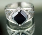 Black diamond Wedding Rings 5.17 Ct Black & White Diamond Cushion Shape Sterling Silver Solitaire