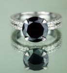 Artistry Black Diamond Ring 4.08 Ct Black & White Diamond Round Shape Sterling Silver Solitaire