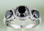 Black diamonds Ring 3.55 Ct Black & White Diamond Round Shape Sterling Silver  Solitaire