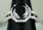 Black Stone Engagement Rings 4.19 Ct Black & White Diamond Cushion Shape Sterling Silver Solitaire
