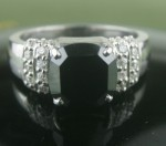 Black Diamond Rings 4.43 Ct Black & White Diamond Cushion Shape Sterling Silver Solitaire
